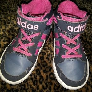 Adidas Hot Pink & Gray High Top Athletic Shoes